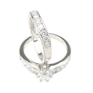 925 Sterling Silver Six Prong Petite Wedding Set- Size 6- kkrs6723a