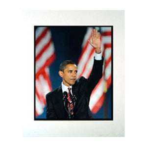 "Barack Obama Waving with Flags 11"" x 14"" Photograph in a Mat"