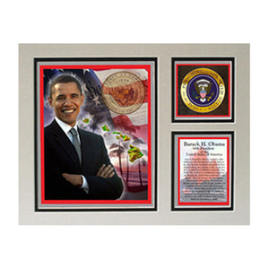 "Barack Obama Photographed in Hawaii 11"" x 14"" Photograph Deluxe Statistics Matted Print"