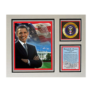 "Barack Obama Photographed in Washington D.C 11"" x 14"" Photograph Deluxe Statistics Matted Print"