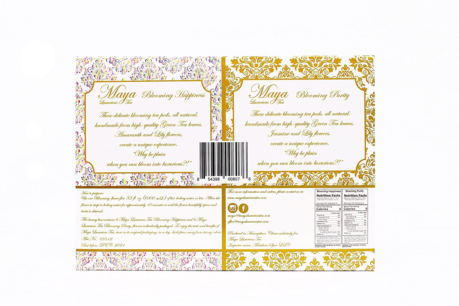 TEA Blooming Happiness & Purity, Pack of 12  by Maya Luxurious