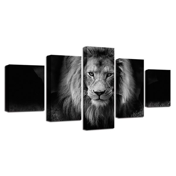 Black and white lion painting