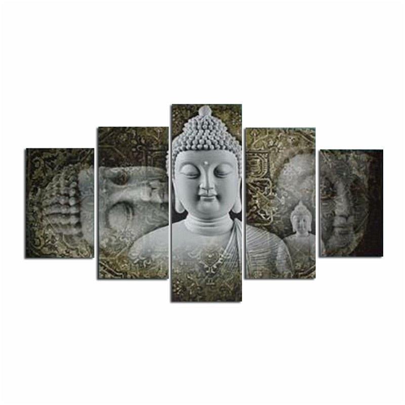 5 Panels Divine Buddha Posters HD Printed Painting Canvas Traditional Figure Of Buddha Symbol Buddhism Wall Art Pictures