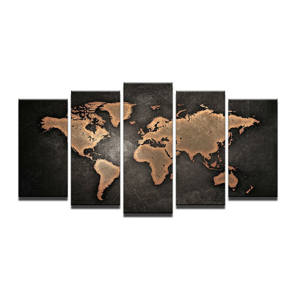 Five world maps oil painting core