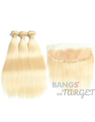 613 Blonde 1/3/4 Brazilian Hair Bundle Straight Weave Remy Human Hair Weft 26 28 30 32 34 36 38 40 Inch Free Shipping