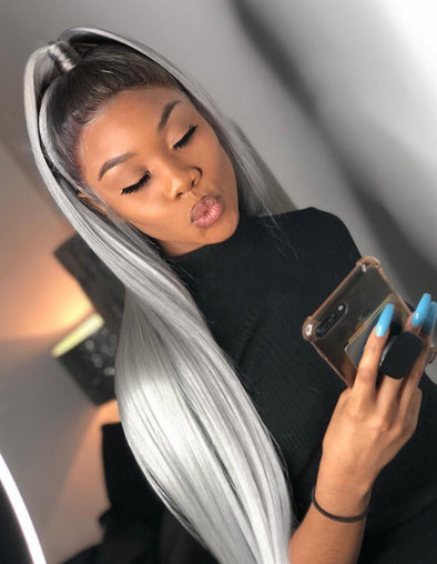 Ombre 1BGrey Straight Lace Front Wigs