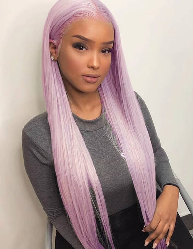 Purple Color Straight Lace Front Wigs
