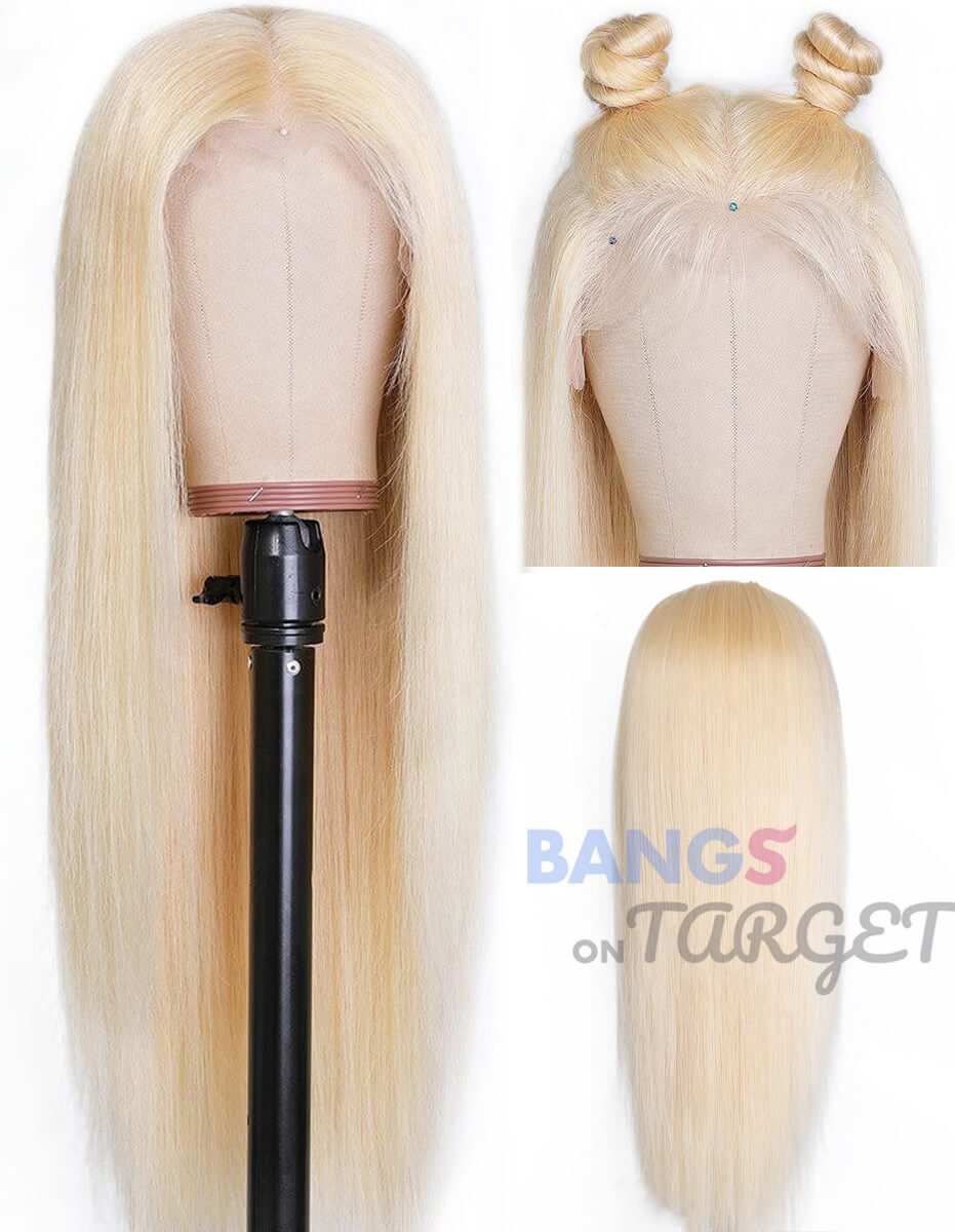 Full Lace Wigs 613 blonde Straight Human Hair With Baby Hair Malaysian Virgin Hair