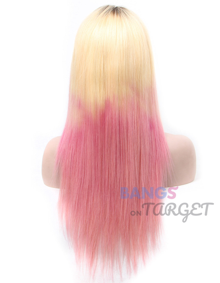 Pink Blonde Mixed Color Lace Front Wigs Human Hair