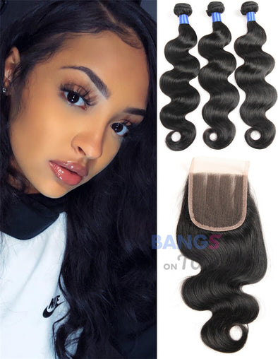 Brazilian Virgin Hair 3 Bundles With Closure Body Wave