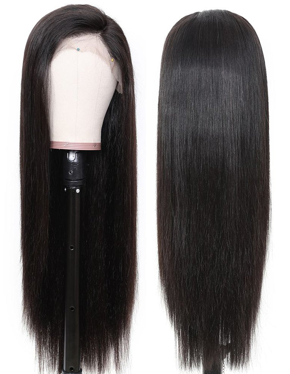 straight hair wig with closure