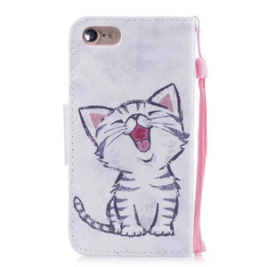 A pour iPhone 7 iPhone7 etui portefeuille mignon chat support housses pour Apple iPhone 8 iPhone8