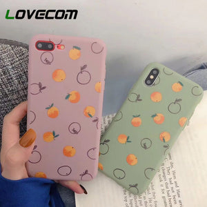 LOVECOM Mignon Fruits Orange Peint étuis pour iphone XS Max XR XS X 6 6S 7 8 Plus Souple Ultra-mince