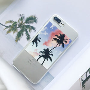 LOVECOM Plantes Tropicales Cocotiers étui pour iphone 5 5s 6 6S 7 8 Plus X Transparent TPU Souple