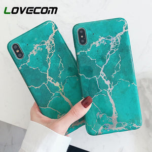 LOVECOM Vintage Marbre Texture étuis pour iPhone XS Max Pour iPhone XR XS X 6 6S 7 8 Plus Souple IMD