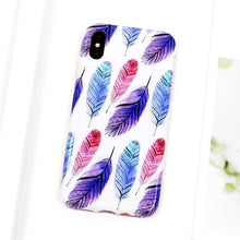 Charger l'image dans la galerie, LOVECOM étui pour iphone 6 6S 7 8 Plus X multicolore plume brillant IMD souple de protection