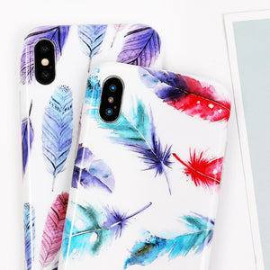 LOVECOM étui pour iphone 6 6S 7 8 Plus X multicolore plume brillant IMD souple de protection