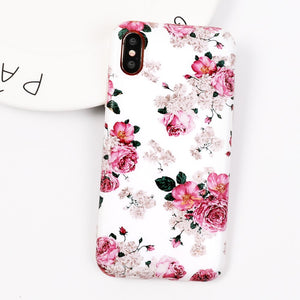 LOVECOM étui pour iphone XS XR XS Max X 6 6S 7 8 Plus Belle Fleur Mat IMD De Protection Souple