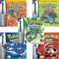 All 5 Pokémon Emerald Ruby Sapphire FireRed LeafGreen Game Boy Advance GBA Games Box Art