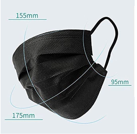 Black 3 ply disposable face masks with ear loops
