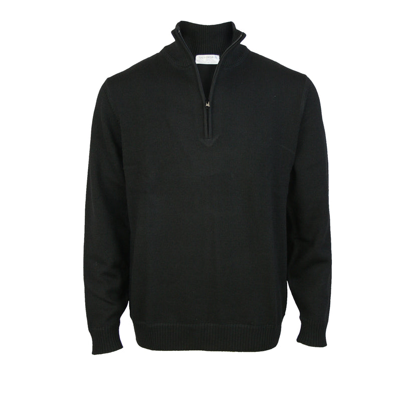 Pure Wool Pullover With 1/4 Zip: Black