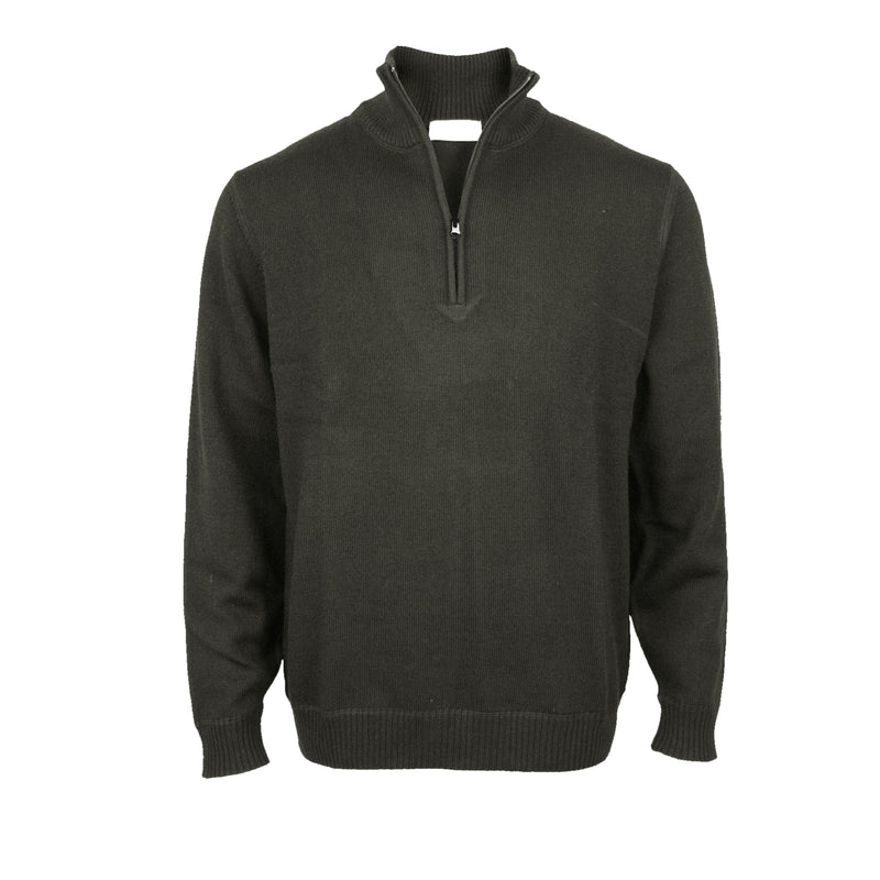 Pure Wool Pullover With 1/4 Zip: Charcoal