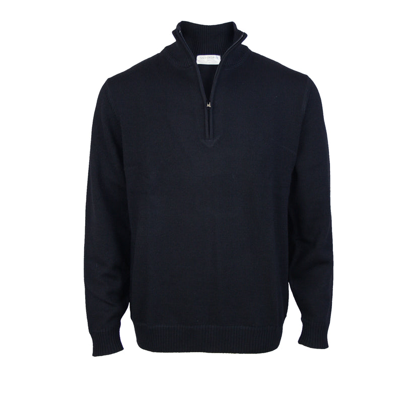 Pure Wool Pullover With 1/4 Zip: Dark Navy