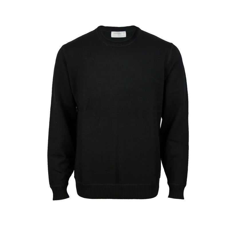 Pure Wool Crew Neck Pullover: Black