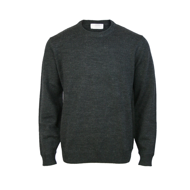 Pure Wool Crew Neck Pullover: Charcoal