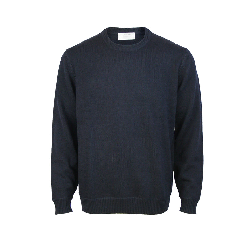 Pure Wool Crew Neck Pullover: Dark Navy
