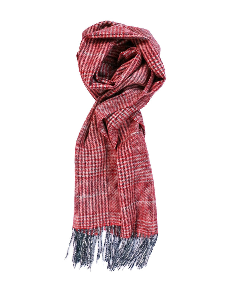 100% Lambswool Red Check Scarf