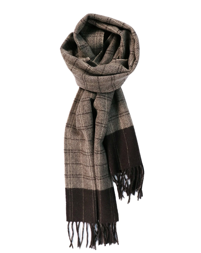 100% Lambswool Chocolate and Beige Check Scarf