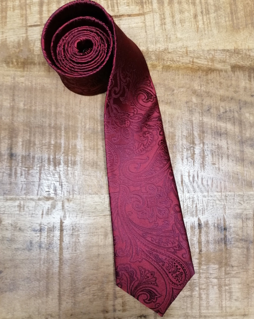 Red Satin Paisley Tie