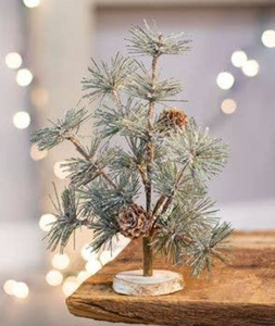 Frosted Mini Faux Evergreen Tree with Pinecones