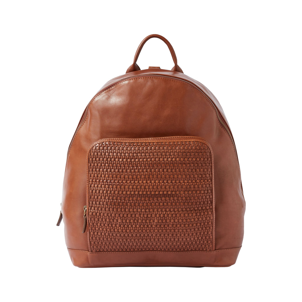 BACKPACK – brown woven leather