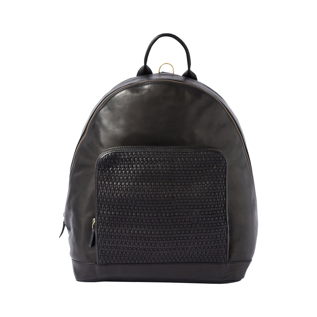 BACKPACK – black woven leather