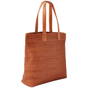 HANDBAG - tan woven leather