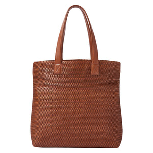 HANDBAG - brown woven leather