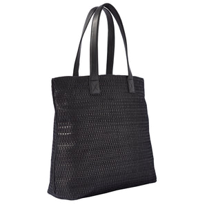 HANDBAG - black woven leather