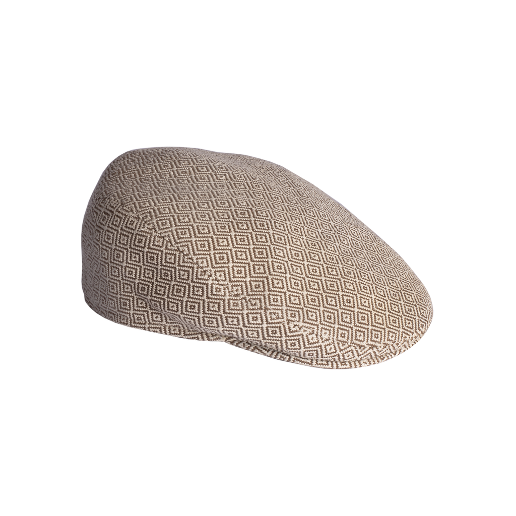 FLAT CAP - ivory & brown