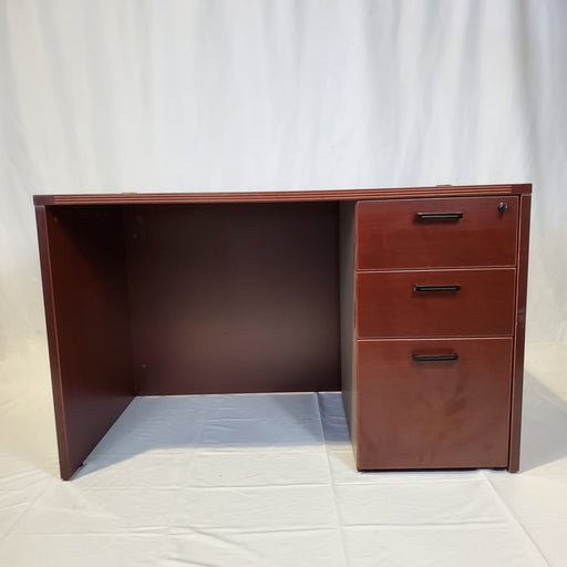 Used Mahogany Laminate 30x48 Desk with Pedestal - Duckys Office Furniture