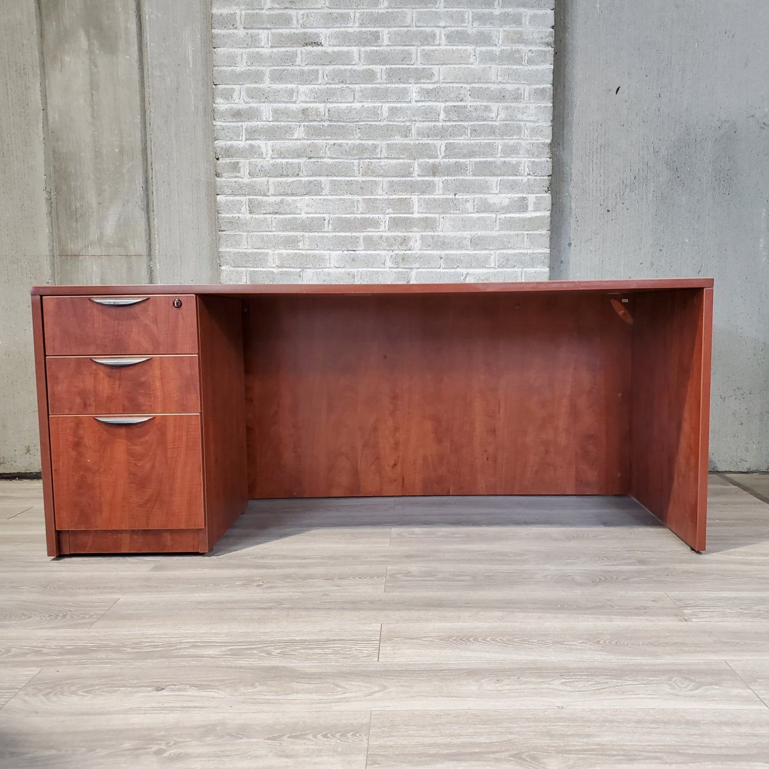 Pre-Owned - Cherry Laminate 36x72 Desk with Pedestal - Duckys Office Furniture