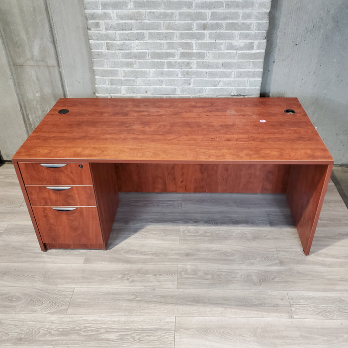 Cherry Laminate 36x72 Desk with Pedestal - Duckys Office Furniture