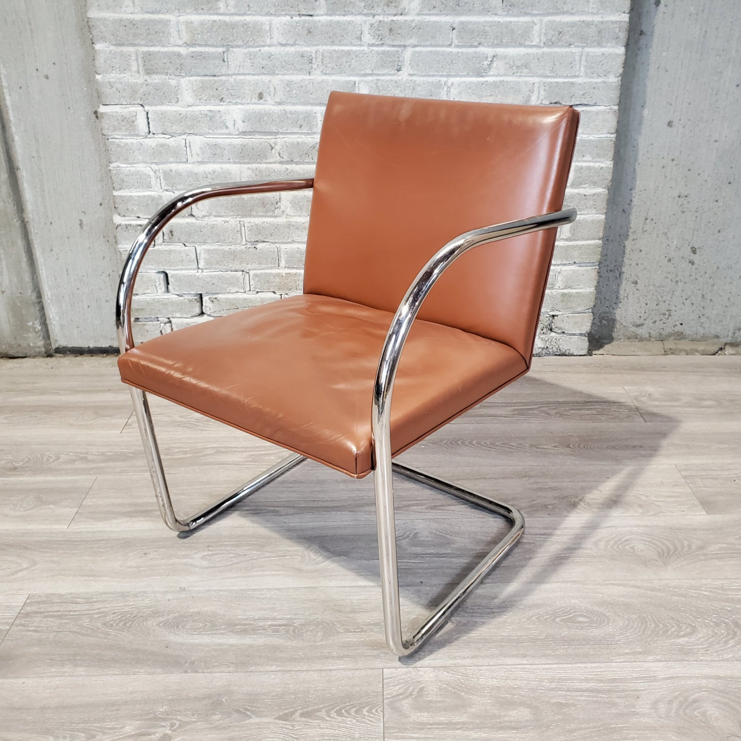 Pre-Owned - Brueton Tubular Chair Vintage Brown Leather - Duckys Office Furniture