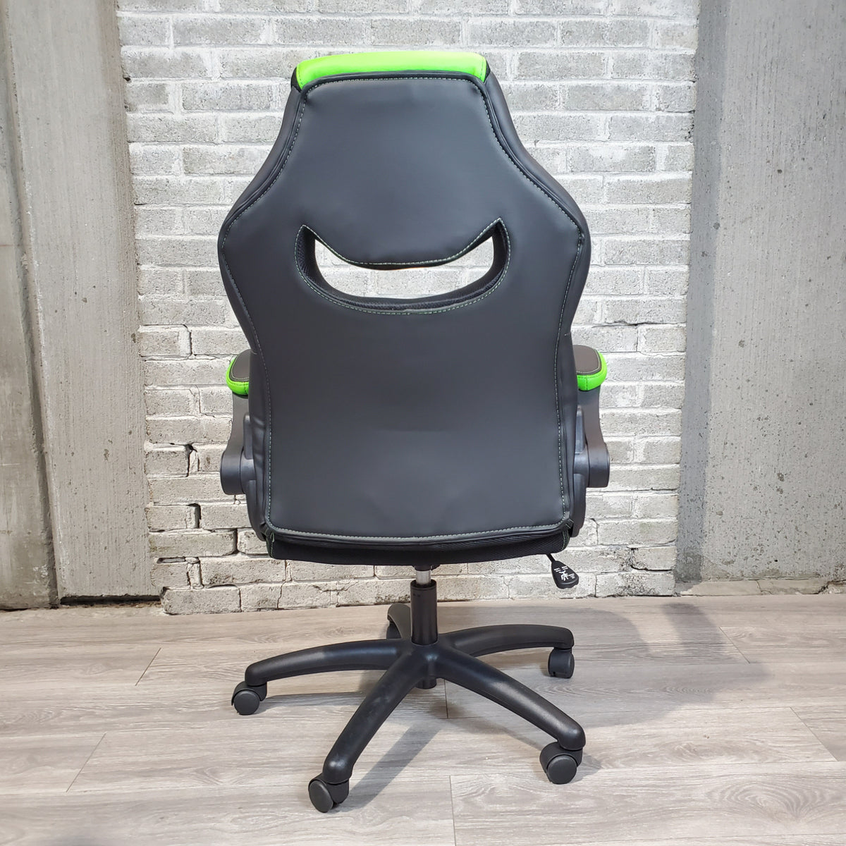 Pre-Owned - IN STOCK Sadie Racing Style Bonded Leather Gaming Chair, Black/Green SPECIAL! - Duckys Office Furniture