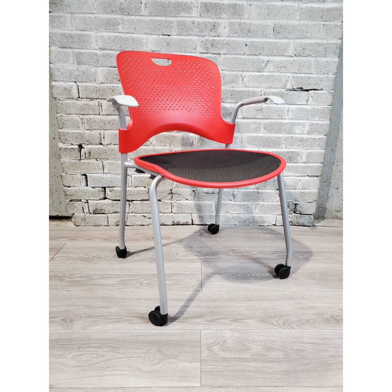 Pre-Owned - Used Herman Miller Caper Side Chair with Casters - Red - Duckys Office Furniture