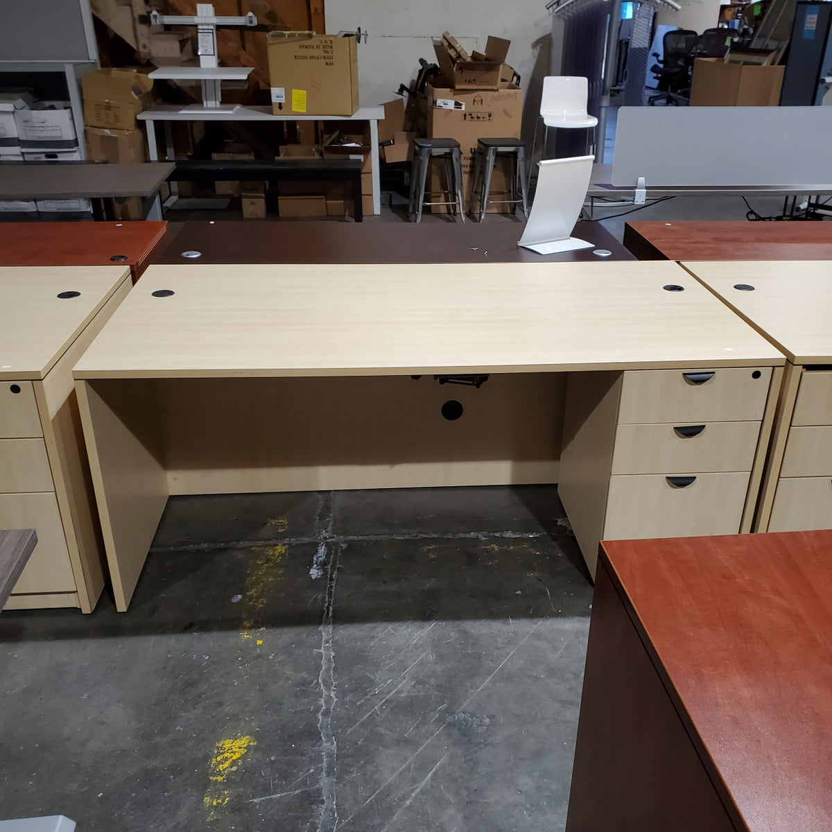 Pre-Owned - Used Maple Laminate Straight Desk With Storage - Duckys Office Furniture