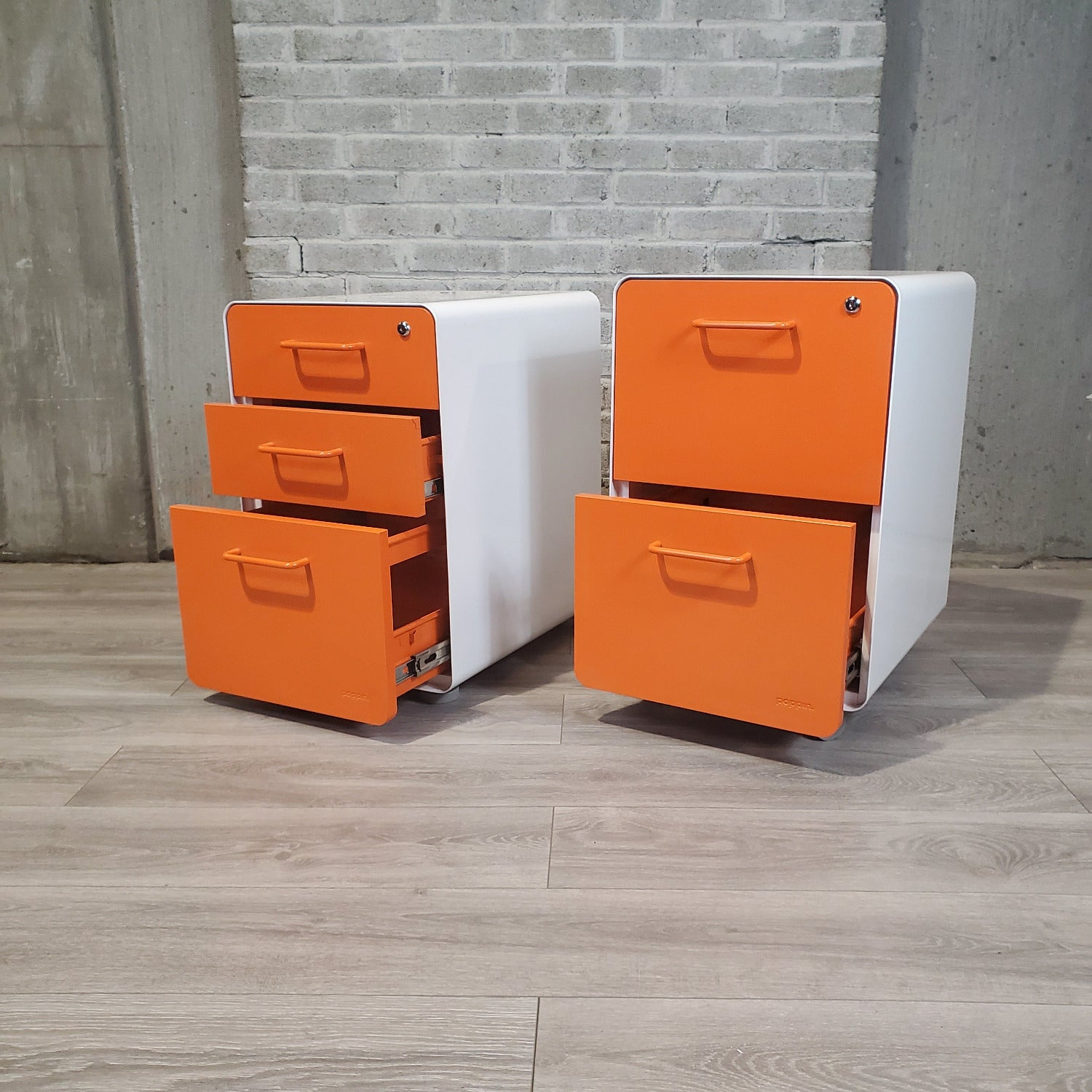 Pre-Owned Orange and White Poppin Stow Pedestal Files - Duckys Office Furniture