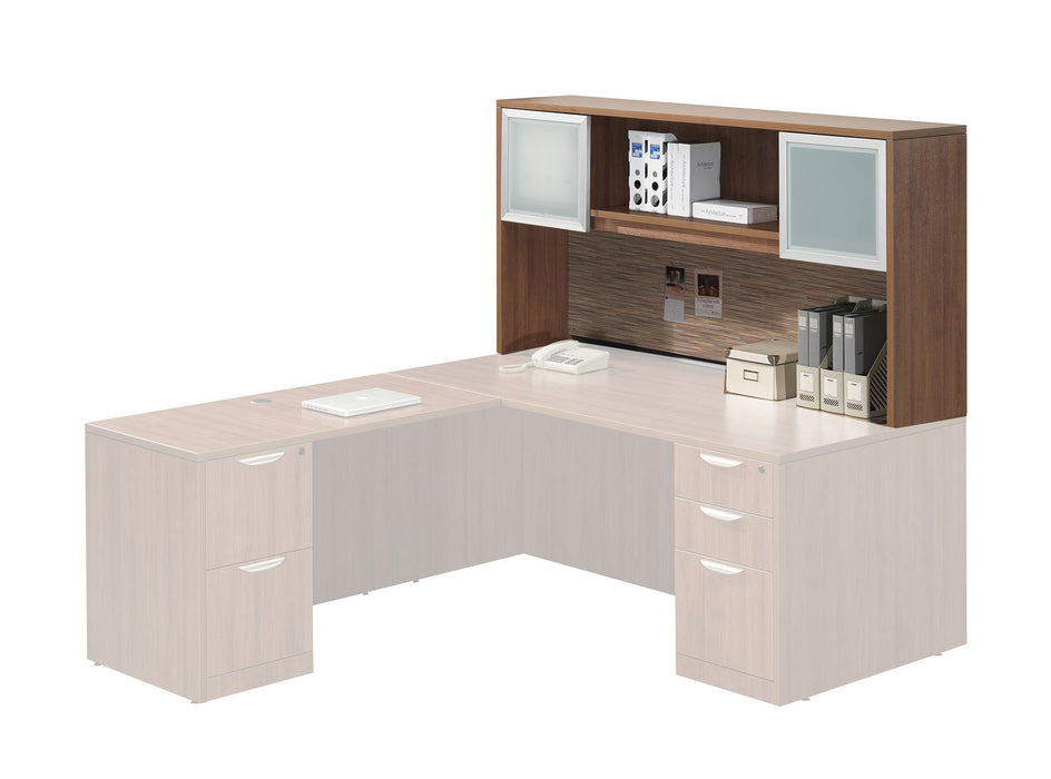 Add-On Performance Classic Laminate Hutch with 2 Silver Frame Glass Doors