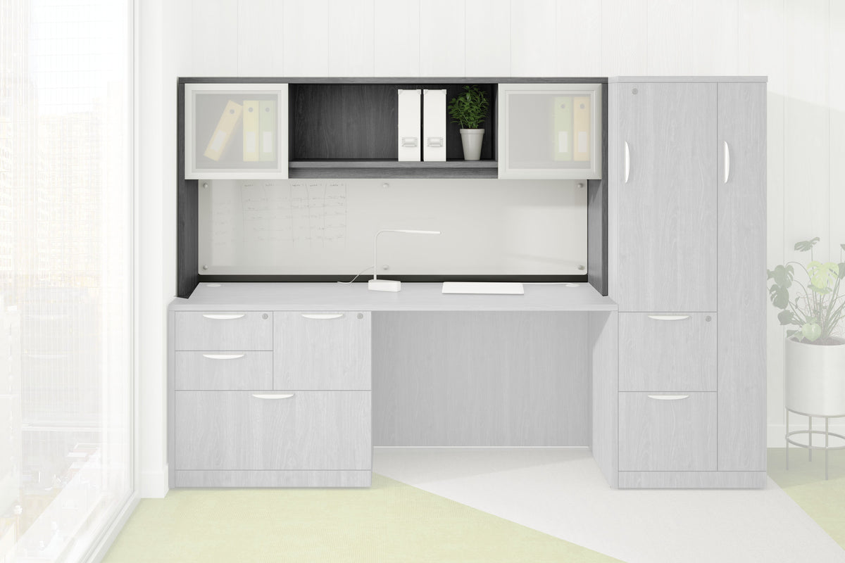 Performance - Add-On Performance Classic Laminate Hutch with 2 Silver Frame Glass Doors - Duckys Office Furniture